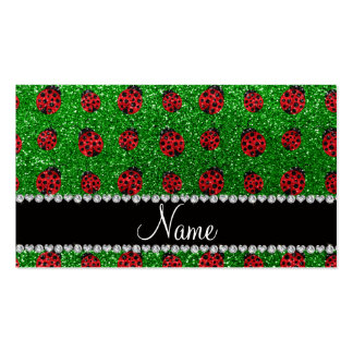 Personalized name green glitter ladybug business card template