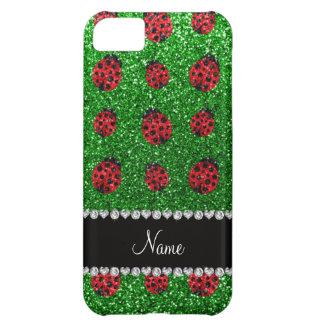 Personalized name green glitter ladybug iPhone 5C cases