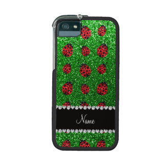Personalized name green glitter ladybug iPhone 5 cover