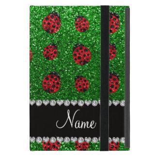 Personalized name green glitter ladybug cover for iPad mini