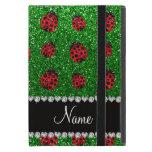 Personalized name green glitter ladybug iPad mini cases