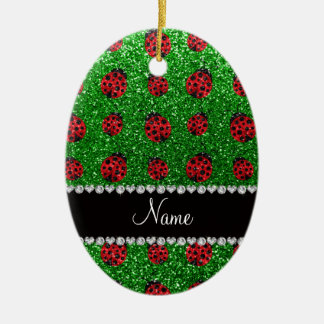 Personalized name green glitter ladybug christmas ornament