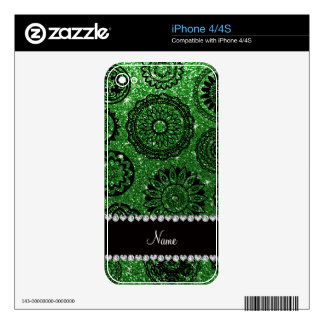 Personalized name green glitter mandalas skins for the iPhone 4