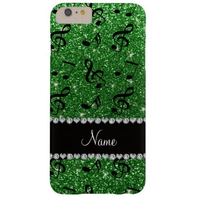 Personalized name green glitter music notes barely there iPhone 6 plus case