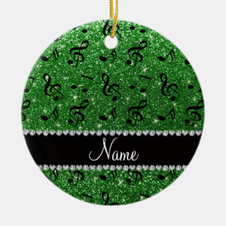 Personalized name green glitter music notes ceramic ornament