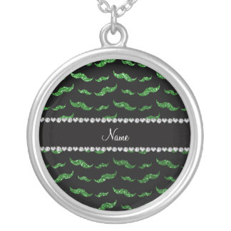 Personalized name green glitter mustaches custom necklace