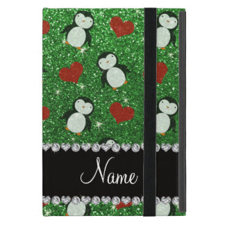 Personalized name green glitter penguins hearts cover for iPad mini