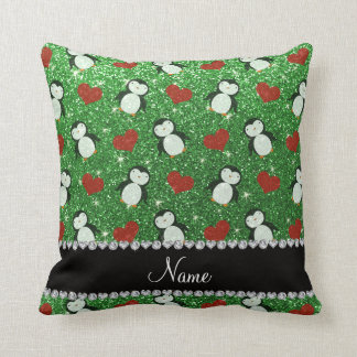 Personalized name green glitter penguins hearts throw pillow