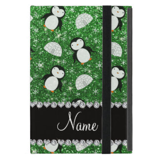 Personalized name green glitter penguins igloos cover for iPad mini