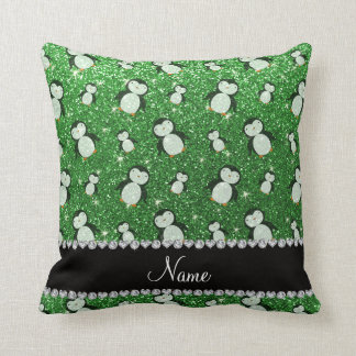 Personalized name green glitter penguins throw pillow