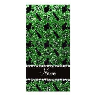 Personalized name green glitter perfume lipstick photo card