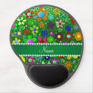 Personalized name green glitter retro flowers gel mouse pad