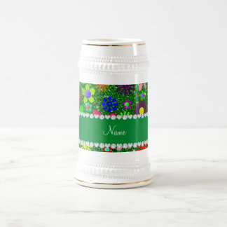 Personalized name green glitter retro flowers beer stein