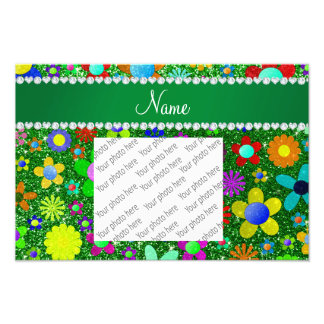 Personalized name green glitter retro flowers photo print
