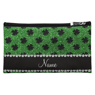 Personalized name green glitter shamrocks cosmetic bag