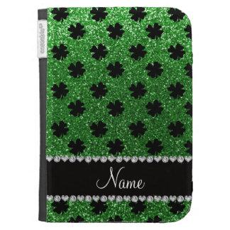 Personalized name green glitter shamrocks kindle cases