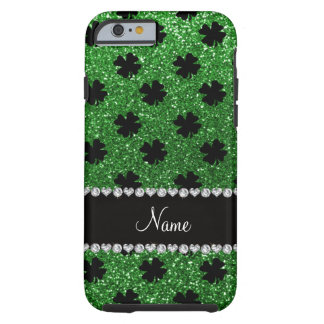 Personalized name green glitter shamrocks tough iPhone 6 case