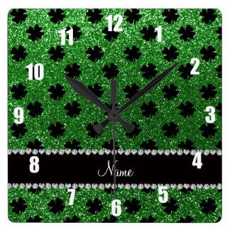 Personalized name green glitter shamrocks square wall clock