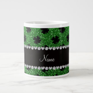 Personalized name green glitter shamrocks giant coffee mug