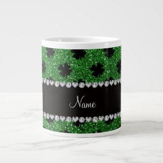 Personalized name green glitter shamrocks giant coffee mug