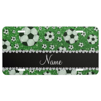 Personalized name green glitter soccer balls license plate