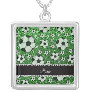 Personalized name green glitter soccer balls pendants