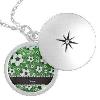 Personalized name green glitter soccer balls locket