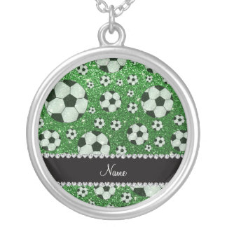 Personalized name green glitter soccer balls custom necklace
