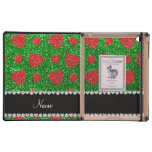 Personalized name green glitter strawberry cover for iPad