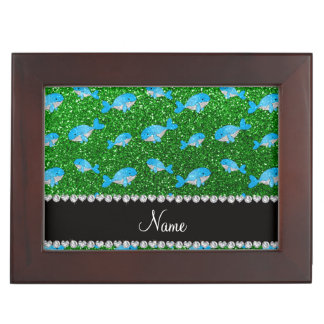 Personalized name green glitter whales memory box