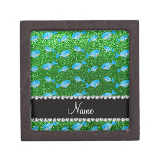 Personalized name green glitter whales premium jewelry boxes