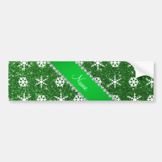 Personalized name green glitter white snowflakes car bumper sticker