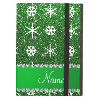 Personalized name green glitter white snowflakes case for iPad air