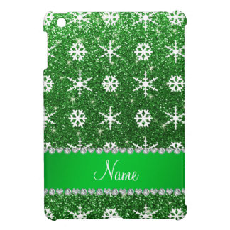 Personalized name green glitter white snowflakes cover for the iPad mini