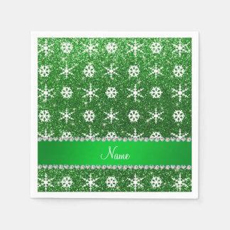 Personalized name green glitter white snowflakes disposable napkin