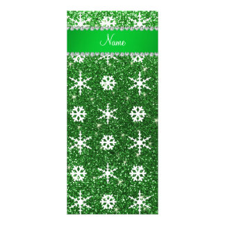 Personalized name green glitter white snowflakes rack card