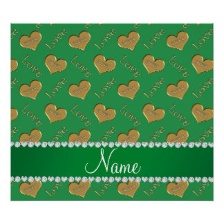 Personalized name green gold hearts mom love poster