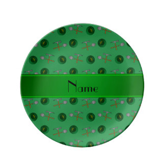 Personalized name green  gold mining porcelain plates