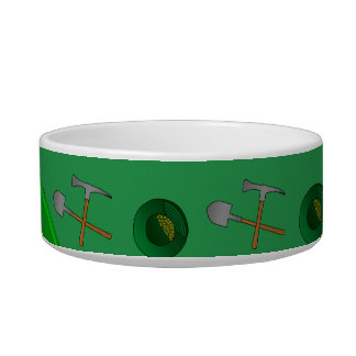 Personalized name green gold mining cat food bowl