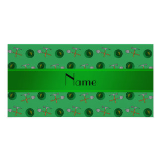 Personalized name green gold mining custom photo card