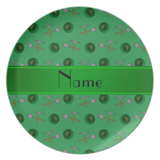 Personalized name green gold mining plate