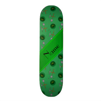 Personalized name green gold mining skateboard deck