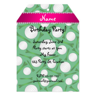 Personalized name green golf ball tees pink stripe card