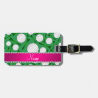 Personalized name green golf ball tees pink stripe luggage tag