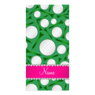 Personalized name green golf ball tees pink stripe photo card