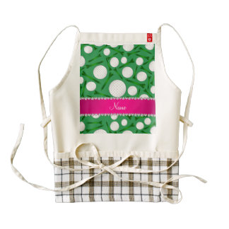 Personalized name green golf ball tees pink stripe zazzle HEART apron