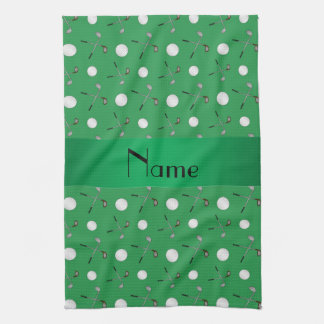 Personalized name green golf balls hand towel