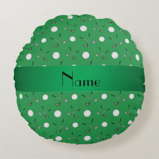 Personalized name green golf balls round pillow
