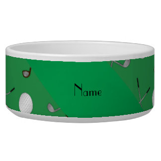 Personalized name green golf balls dog bowls