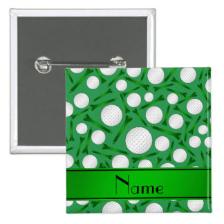 Personalized name green golf balls tees button